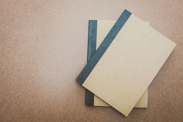 Mock, caderno, cima, madeira, fundo