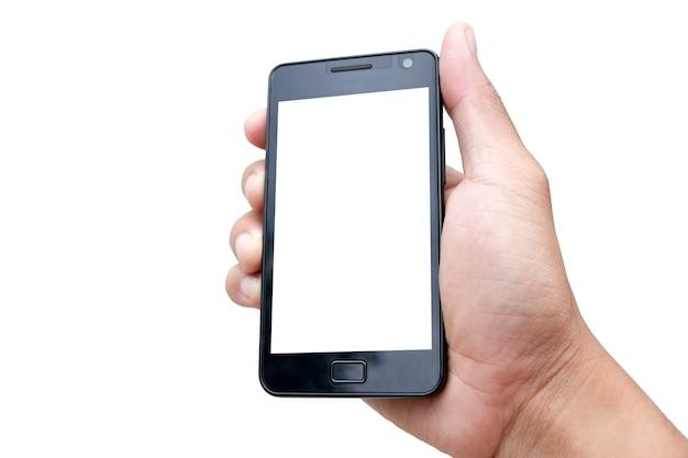 Mock-se a mão segurando o smartphone com tela em branco sobre fundo branco