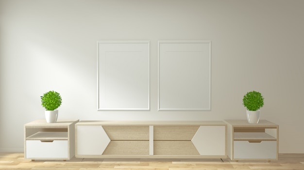 Mock-se armário de tv e exibir com design minimalista quarto e decoração estilo japonês