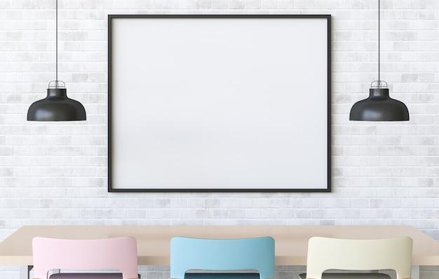 Mock-se cartaz no interior com área de refeições. 3d render
