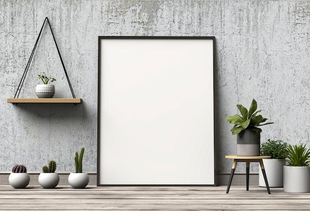Mock-se cartaz no interior com decoração na sala de estar