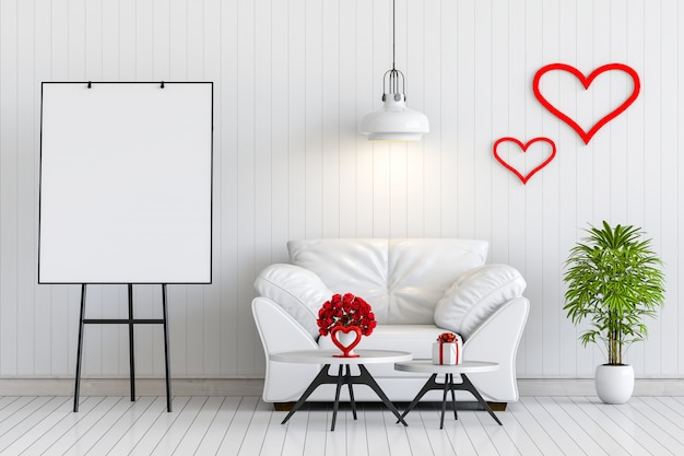 Mock-se cartaz poster interior sala de estar com sofá, rosa e presente dos namorados.