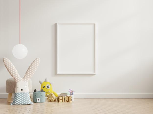 Mock-se cartazes no interior do quarto de criança.