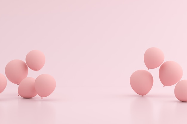 Mock-se de balões flutuando no espaço rosa.