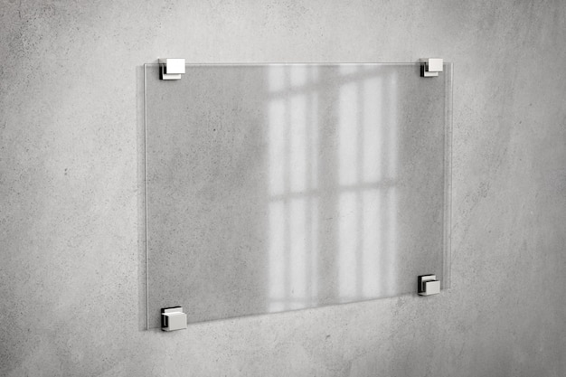 Mock-se de um sinal de placa de vidro