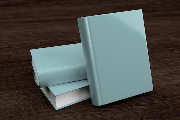 Mock-se de uma pilha de livro sobre um fundo de madeira - renderização em 3d