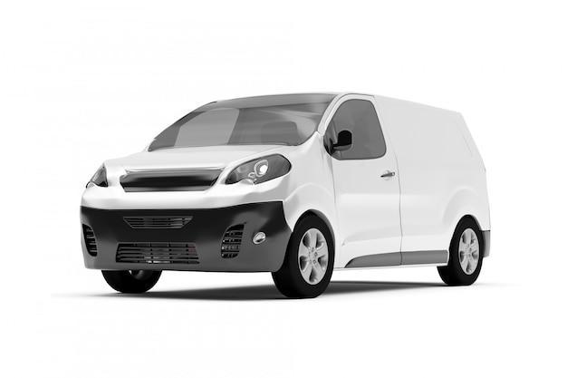 Mock-se de uma van em um fundo branco - renderização em 3d