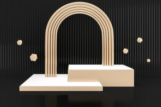Mock-se design minimalista de pódio de forma em fundo preto. renderização 3d
