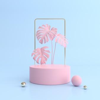 Mock-se do pódio de geometria em fundo de cor pastel