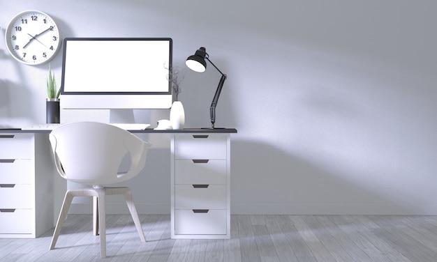 Mock-se escritório de cartaz com design confortável branco e decoração no quarto branco e piso de madeira branco