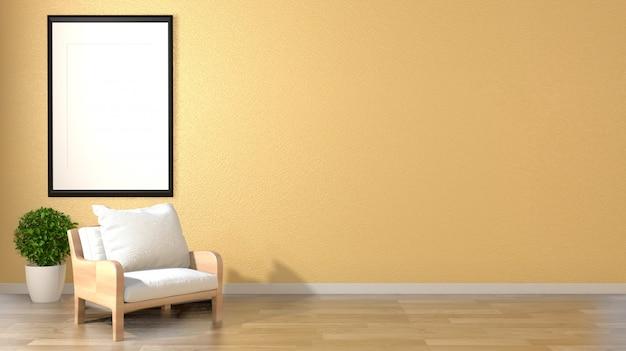 Mock-se estilo interior de zen de sala de estar com moldura de poltrona e plantas em fundo de parede amarelo vazio.