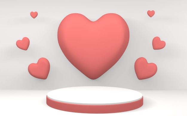 Mock-se minimalista do pódio rosa dos namorados em fundo branco. renderização 3d