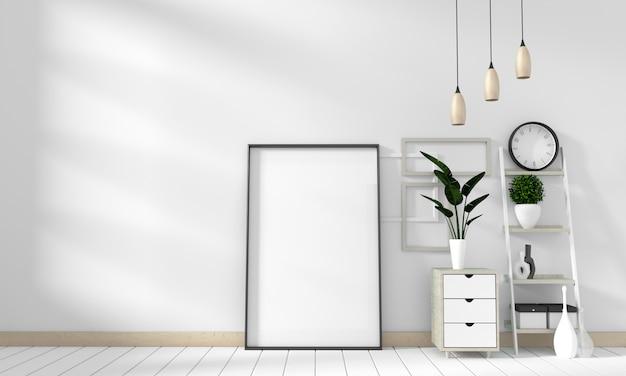 Mock-se moderno na sala branca com piso de madeira branca. renderização em 3d