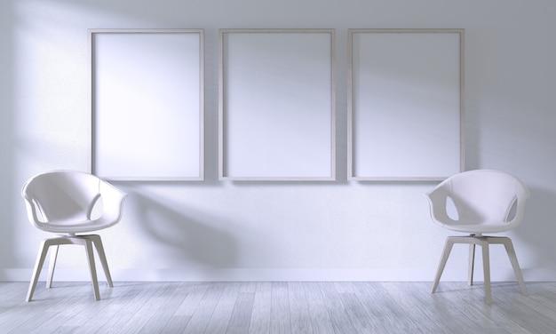 Mock-se moldura de cartaz com cadeira branca na parede do quarto branco sobre piso de madeira branco