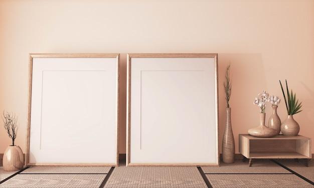 Mock-se moldura de cartaz no quarto vazio japonês e tatame tapete, tom de terra. renderização 3d