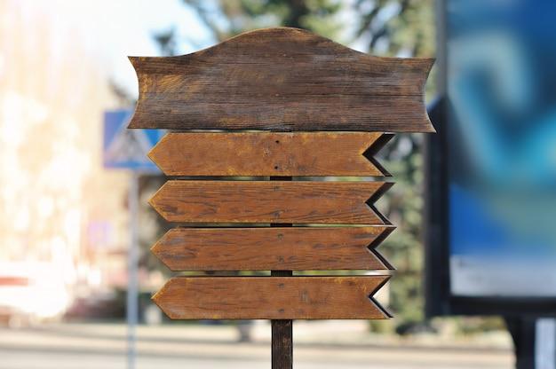 Mock-se placa de sinal de madeira