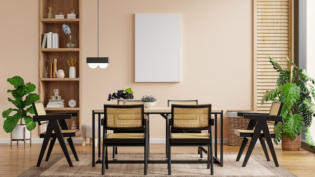 Mock-se pôster com design de interiores de sala de jantar moderna com renderização de parede vazia em cor creme.