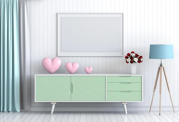 Mock-se quadro com rosa interior dos namorados sala de estar