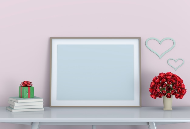 Mock-se quadro com rosa