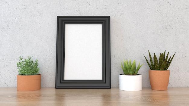 Mock-se quadro de cartaz com fundo interior, renderização em 3d