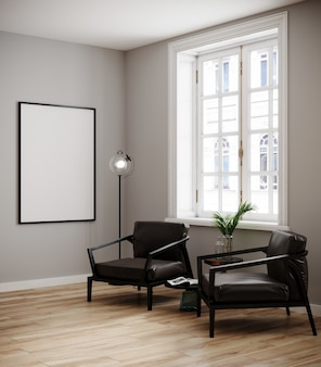 Mock-se quadro de cartaz no fundo interior moderno, sala de estar, estilo escandinavo, 3d render, ilustração 3d