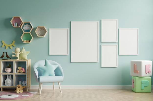 Mock-se quadro de cartaz no quarto de crianças, quarto de crianças, maquete de berçário, parede azul.