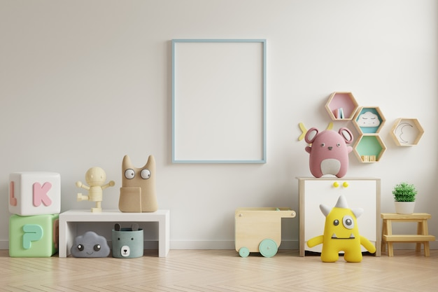 Mock-se quadro de cartaz no quarto de crianças, quarto de crianças, maquete de berçário, parede branca.