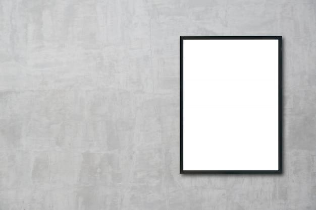 Mock-se quadro em branco pendurado na parede do quarto