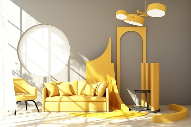Mock-se tendência de forma geométrica mínima de estúdio abstrato amarelo com poltrona amarela e sofá na plataforma do pódio com luz solar e transparente. renderização 3d