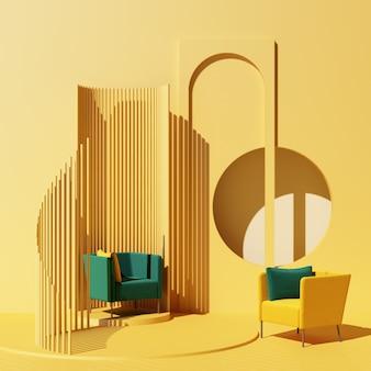 Mock-se tendência de forma geométrica mínima de estúdio abstrato amarelo com poltrona verde na plataforma do pódio. renderização 3d