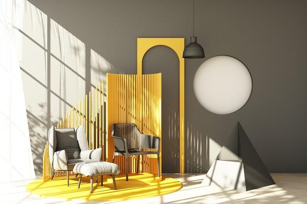 Mock-se tendência de forma geométrica mínima de estúdio abstrato cinza com poltrona cinza e sofá na plataforma do pódio com luz solar e transparente. renderização 3d