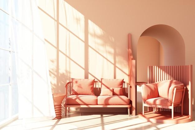 Mock-se tendência de forma geométrica mínima de estúdio abstrato rosa com poltrona rosa e sofá na plataforma do pódio com luz solar e transparente. renderização 3d