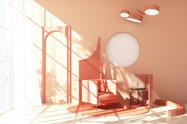 Mock-se tendência de forma geométrica mínima de estúdio abstrato rosa com poltrona rosa na plataforma do pódio com luz solar e transparente. renderização 3d