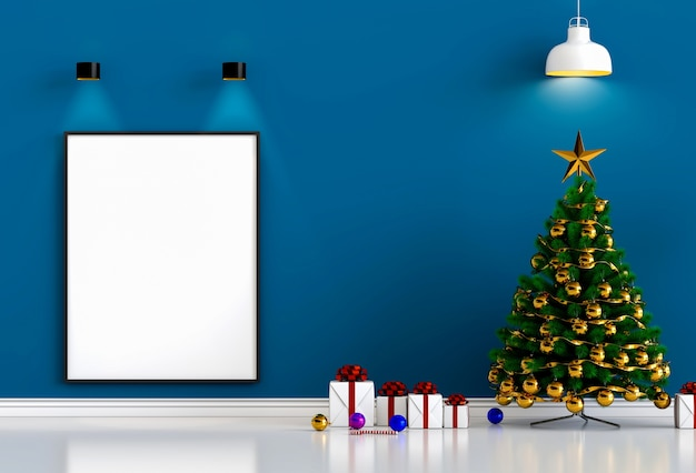 Mock up cartaz moldura natal interior sala de estar. renderização em 3d