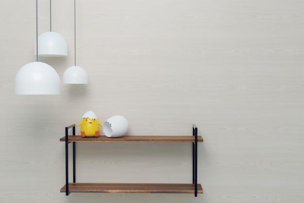 Mock-up de decoração de parede design de prateleira e rack, renderização de ilustrações 3d