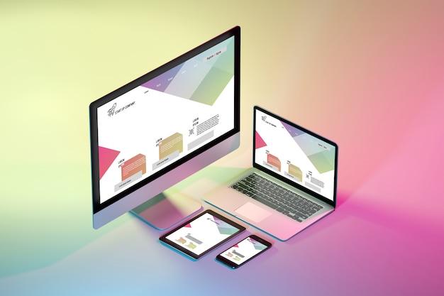 Mock up de dispositivos isométricos em um colorido - renderização em 3d