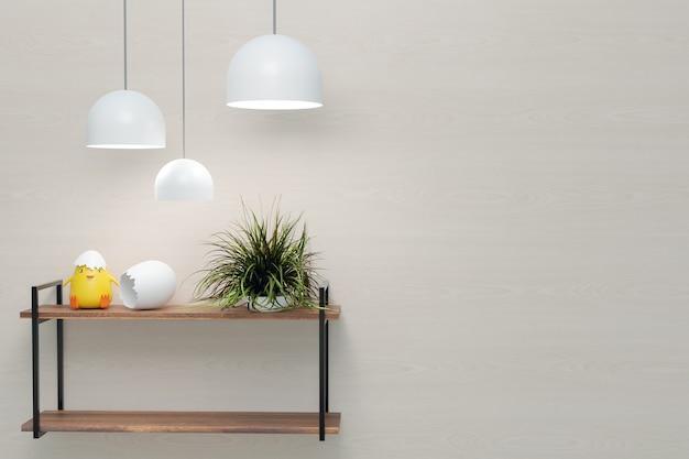 Mock-up de parede e design de interiores com montagem em parede, renderização de ilustrações 3d