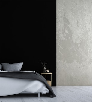 Mock up decoração de móveis em moderno estilo tropical interior de quarto 3d render