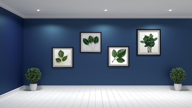 Mock up, design de interiores de sala de estar hipster, renderização em 3d