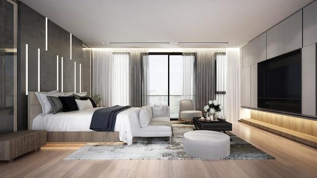 Mock up do interior do quarto moderno e aconchegante, cama cinza e sala de estar no fundo vazio da parede de mármore escuro, estilo escandinavo, renderização 3d