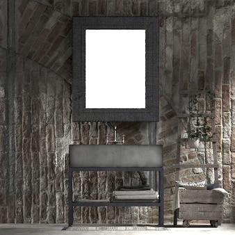 Mock up e decoração e fundo de banheiro e parede de tijolo