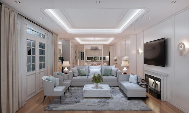 Mock up e decoração e fundo luxuoso da parede da sala de estar e sala de jantar