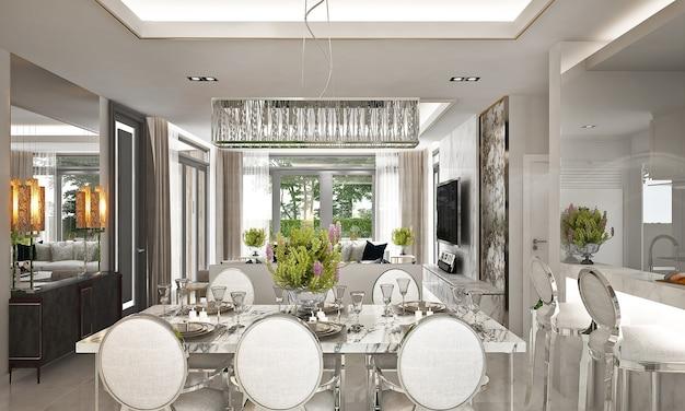 Mock up e decoração e luxuosa sala de jantar e fundo de parede