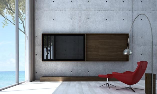 Mock up e decoração e plano de fundo da sala e da parede de concreto