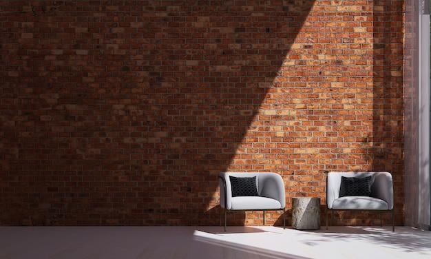 Mock up e decoração e plano de fundo da sala e da parede de tijolos