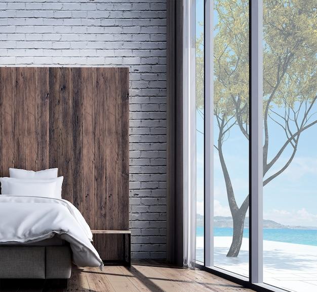 Mock up e decoração e quarto minimalista e fundo de parede de madeira