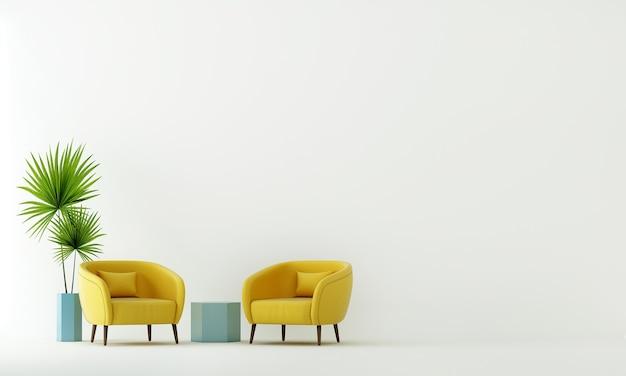 Mock up e decoração e sala de estar e cadeiras amarelas e fundo de parede branco