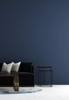 Mock up e decoração e sala de estar e fundo azul da parede