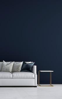 Mock up e decoração e sala de estar e fundo de parede azul