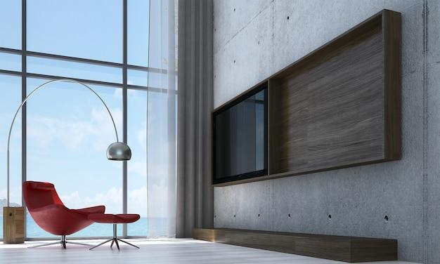 Mock up e decoração e sala de estar e fundo de parede de concreto e vista para o mar Foto Premium